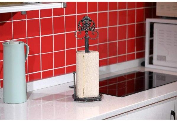 Kitchen Rustic Freestanding Metal Jellyfish Paper Towel Holder Real shot