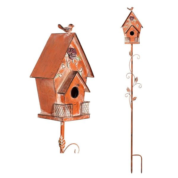 Orange Antique Flower Birdhouse