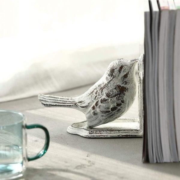 Vintage White Cast Iron Bird Bookends Partial details 3