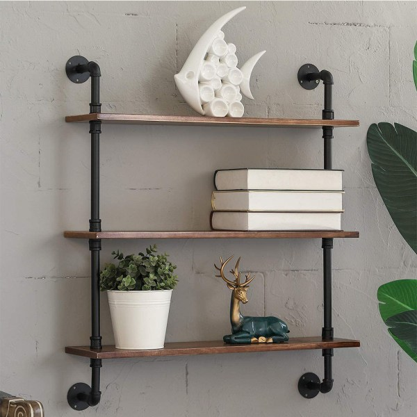 3 Tiers Rustic Brown Wood Floating Shelves with Metal Stand scene real shot