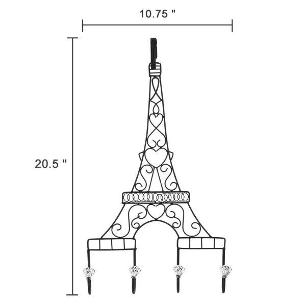 Metal Eiffel Tower Black Coat Hooks Dimensional Drawings