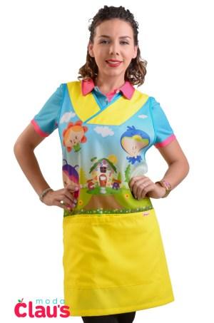 frente de uniformes de maestra de preescolar en color amarillo