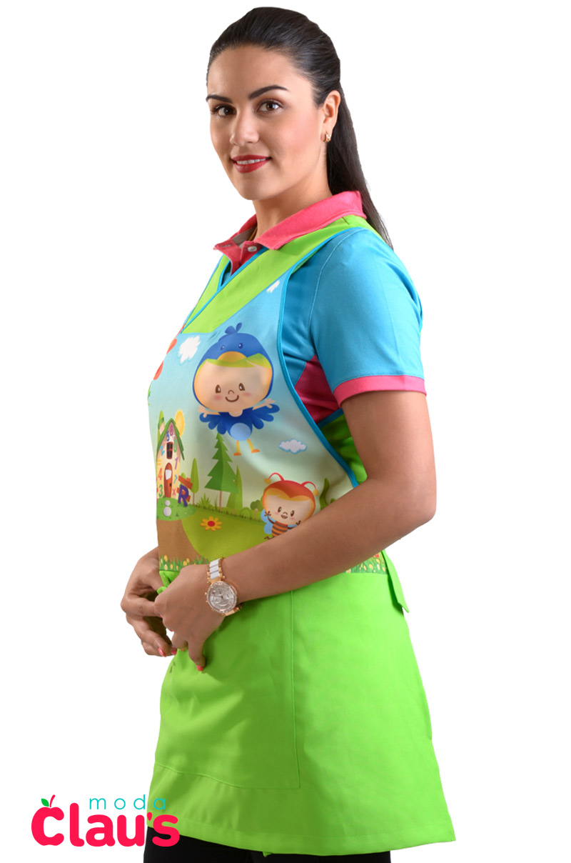 uniformes para maestras de preescolar color verde costado 2