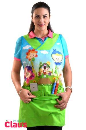 uniforme para maestra de preescolar color verde frente