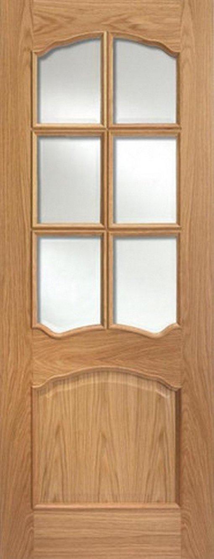 LPD Internal Pre-Finished Oak Riviera Raised Mouldings Bevelled Glass Door