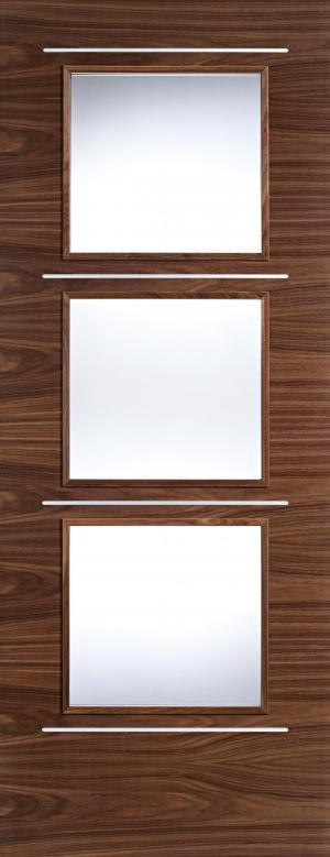 LPD Internal Walnut Murcia 3 Light Clear Glazed Door with Aluminium Insets