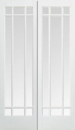 LPD Internal Manhattan Bevelled Glass Prime Plus Door Pair