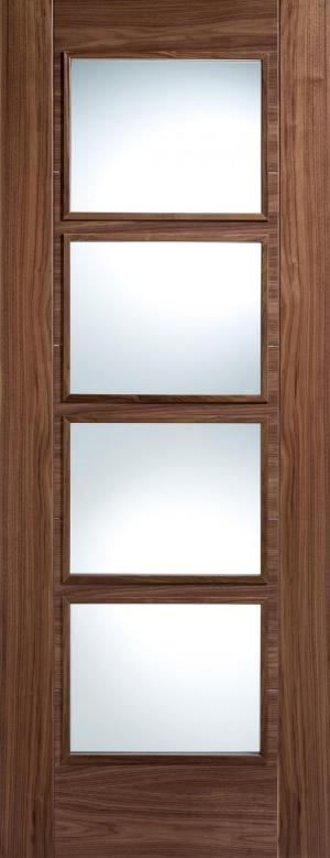 LPD Internal Walnut Vancouver 4 Light Clear Glazed Door