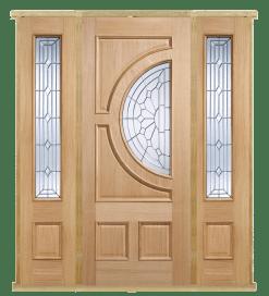 MODA Doors External Empress Oak IG Zinc Glazed Entrance Door with 2 Sidelights & Door Frame