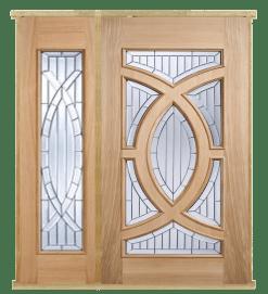 MODA Doors External Majestic Oak IG Zinc Glazed Entrance Door with 1 Sidelight & Door Frame