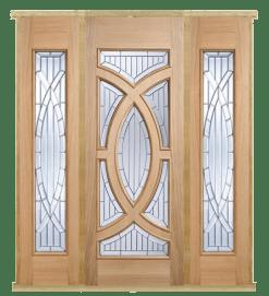 MODA Doors External Majestic Oak IG Zinc Glazed Entrance Door with 2 Sidelights & Door Frame