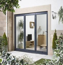 LPD External 3.0m ALUVU (10ft) Aluminium Bi-Fold Door Set in a Grey Finish (Right Hand Opening)