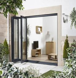 LPD External 3.0m ALUVU (10ft) Aluminium Bi-Fold Door Set in a Grey Finish (Right Hand Opening)
