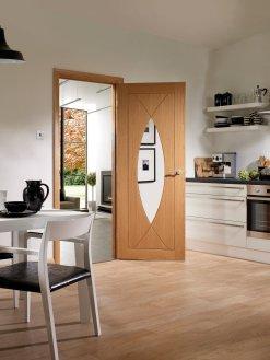 XL Joinery Internal Oak Pesaro with Clear Glass Fire Door