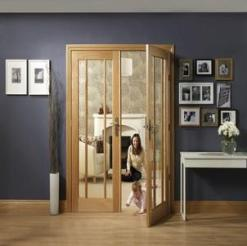 XL Joinery Internal Oak Worcester Door Pair with Clear Glass