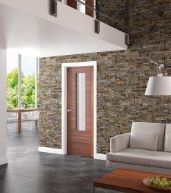 XL Joinery Internal Glazed Walnut Pre-Finished Portici Door