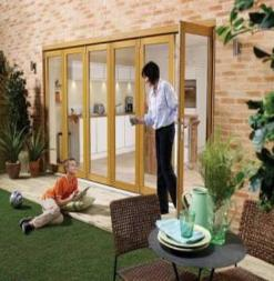 LPD External 2.4m NUVU (8ft) Oak Unfinished Bi-Fold Doors with a 3+0 Configuration