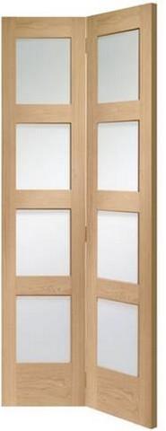 XL Joinery Internal Oak Shaker Bi-Fold with Clear Glass Door