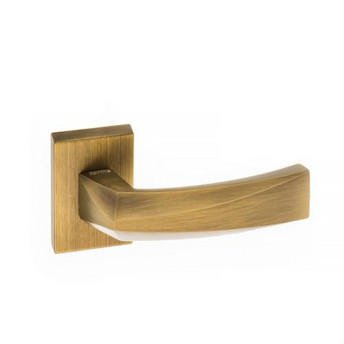 Atlantic Handles Crystal Forme Designer Lever on Minimal Square Rose in a Yester Bronze Finish Pair of Door Handles