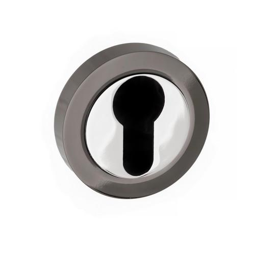 Atlantic Handles Status Round Rose Euro Escutcheon in a Black Nickel & Polished Chrome Finish