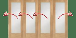 LPD External 3.0m NUVU (10ft) Oak Unfinished Bi-Fold Doors with a 3+1 Configuration