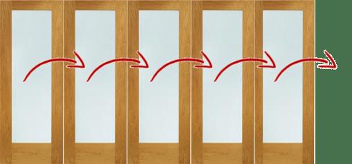 LPD External 3.6m NUVU (12ft) Oak Pre-Finished Bi-Fold Doors with a 5+0 Configuration