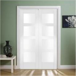 XL Joinery Internal White Primed Shaker Clear Glass Door Pair