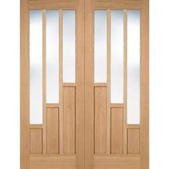 LPD Internal Prefinished Oak Coventry with Clear Glazed Door Pair