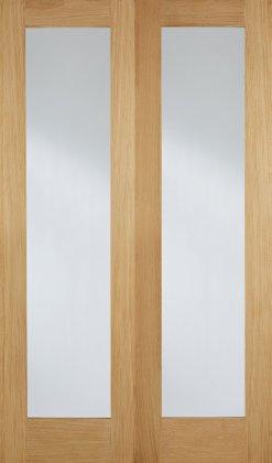 LPD Internal Oak Pattern 20 with Clear Glazed Door Pair