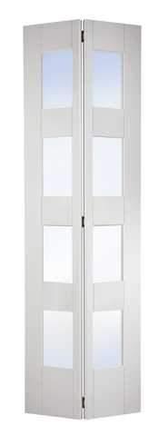 LPD Internal Bifold White Primed Shaker 4 Light Glazed Door