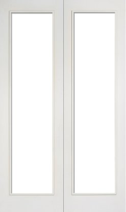 LPD Internal White Primed Pattern 20 with Clear Glazed Door Pair