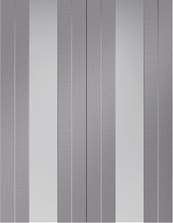 XL Joinery Internal Light Grey Pre-Finished Forli Door Pair (Clear Glass)