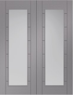 XL Joinery Internal Light Grey Pre-Finished Palermo Door Pair (Clear Glass)