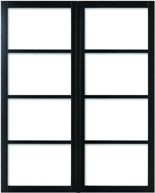 Weekamp Doors Internal Industrial Style 4 Panel Glazed Black Door with 80mm Stiles