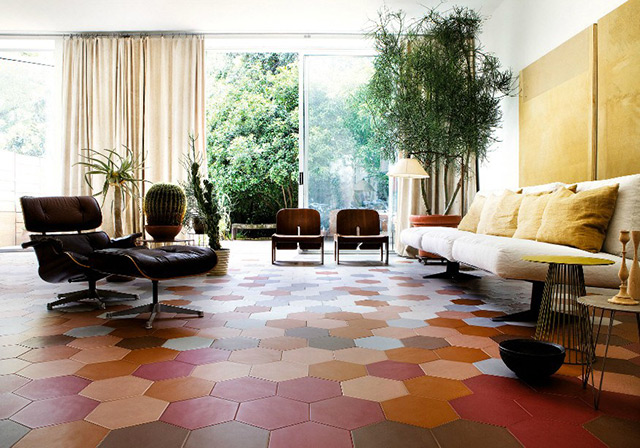 Equilatero pavimento in piastrelle esagonali