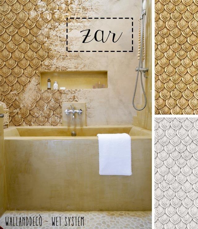 Wet system di WallandDecò per mettere la carta da parati in bagno - modello Zar.
