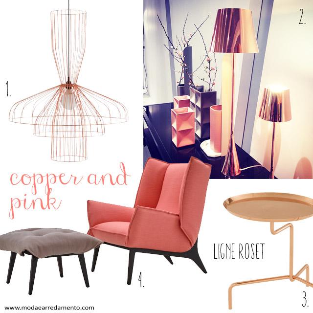 ligne roset: complementi e arredi in copper e pink.