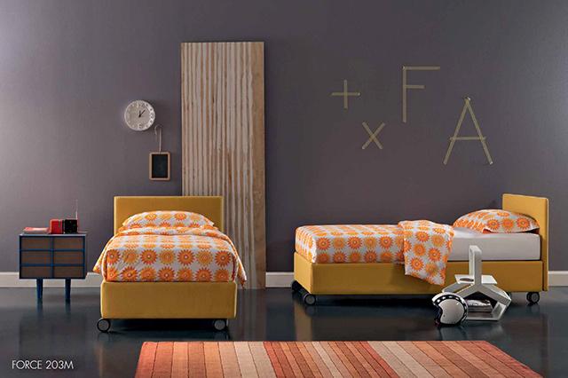 Immagine di letto singolo con contenitore Froce.