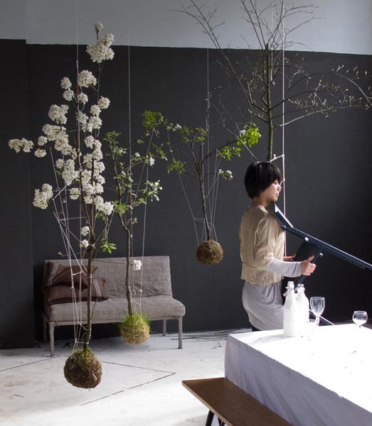 Appartamento con string gardens appesi al soffitto.