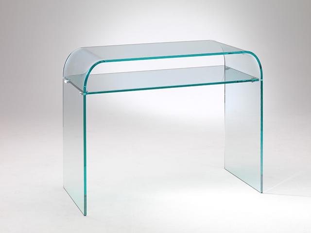 Consolle piano vetro curvato.