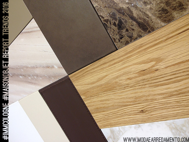 Marmo, legno e materiali naturali - tendenze arredo 2016.