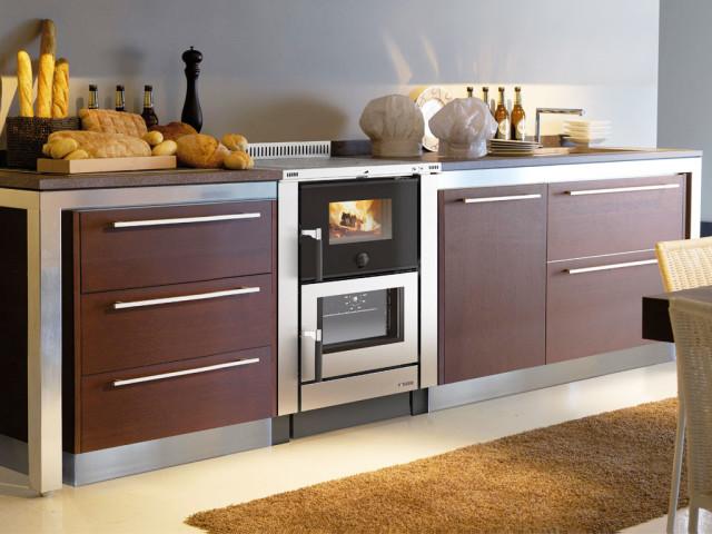 Cucine a legna moderne - modello Vicenza acciaio inox