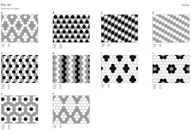 Tonalite examat soluzioni di posa per piastrelle esagonali.
