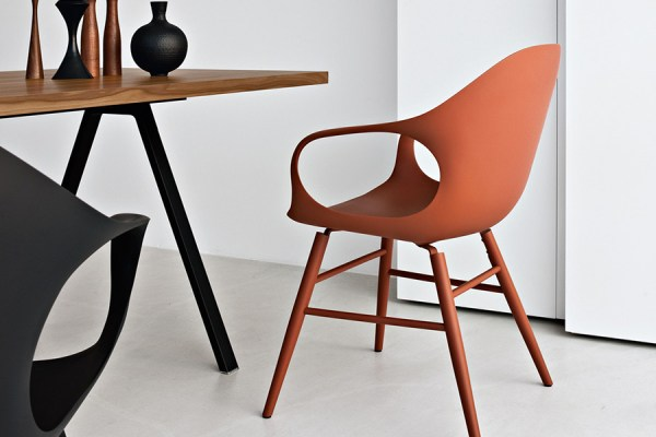 Elepahnt chair colore terracotta, base legno in tinta.