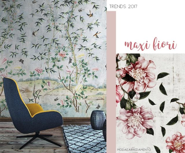 Home trends 2017 sarà a maxi fiori alle pareti.