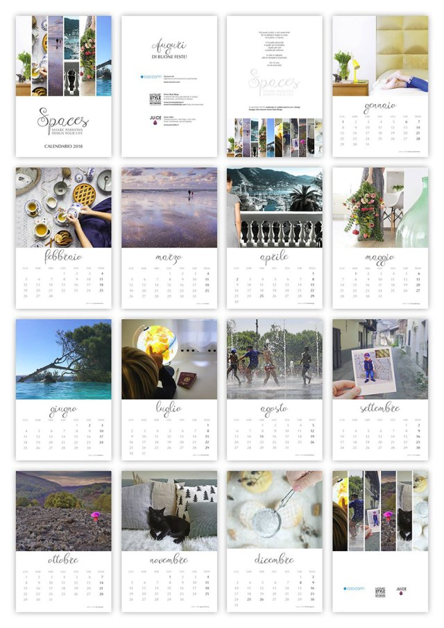Calendario 2018 Homestyleblogs - raccolta completa.