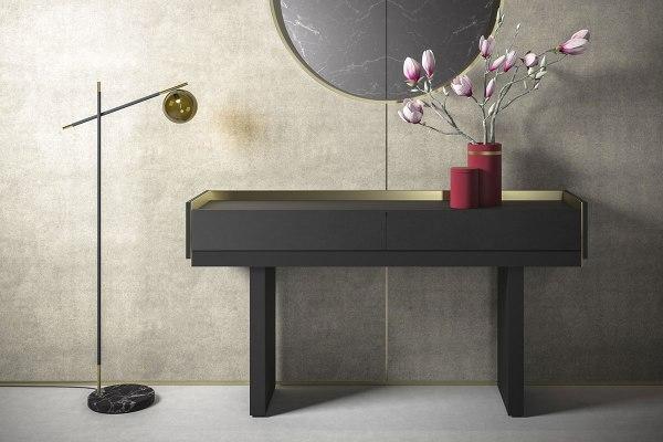 Lampada da terra in metallo nero e marmo con diffusore fumè - design Roberta Stella.
