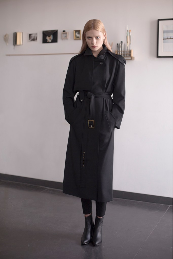 Black wool trench by Common Raven on www.modagrid.com