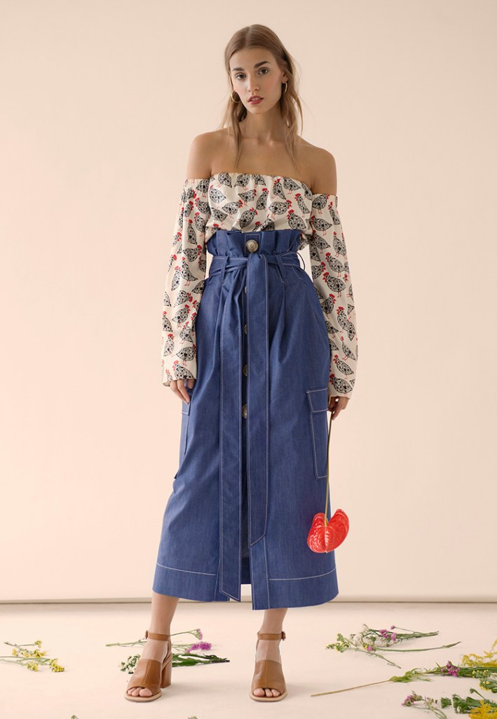 Denim Button Skirt by FLOW the Label on www.modagrid.com