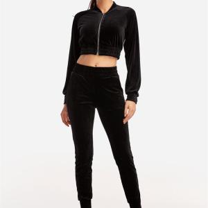 Active Cut Out Zip Design Elastic Tracksuit in Black